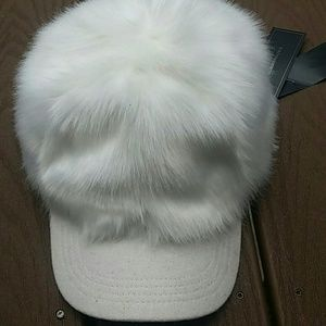 BCBGMaxAzria Accessories - BCBG faux fur white baseball cap 8b10ed45795c